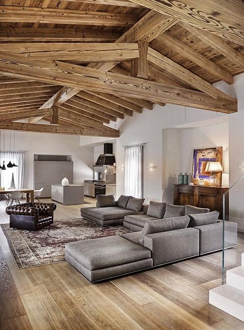 Travi in legno a vista sul soffitto oltre 10 idee e for Riviste di interior design
