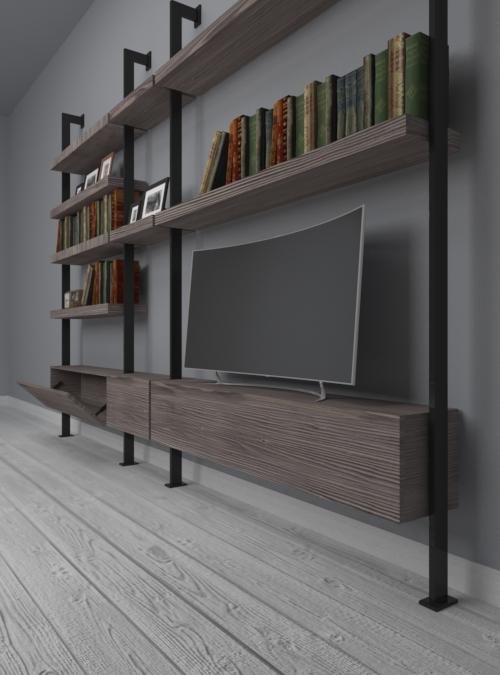 libreria-parete-design-legno-ferro-pirandello-stile-minimal-sconto