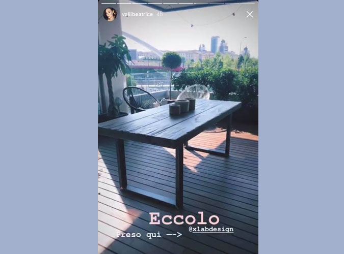 Beatrice Valli tavolo Ferguson in legno massello su terrazzo