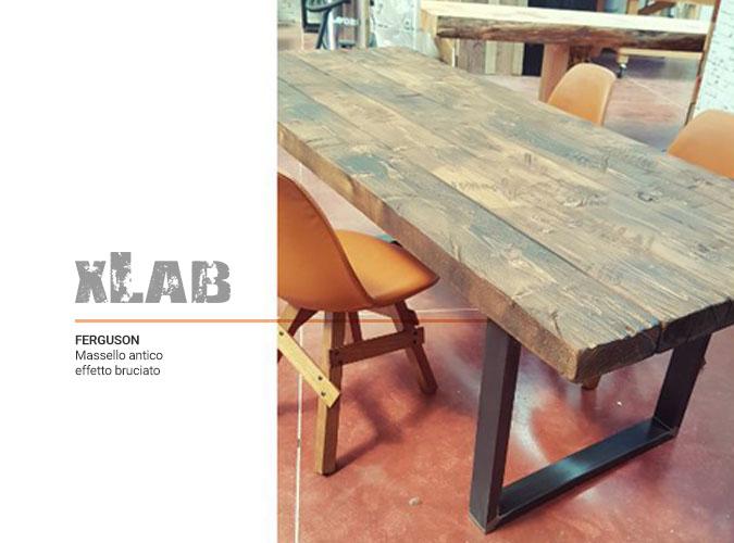 Tavolo in legno massello effetto bruciato modello Ferguson