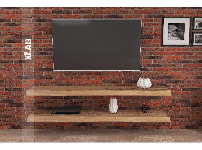 Madia porta TV a due mensole in legno massello