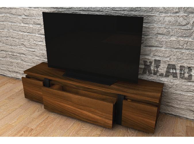 Rendering mobile porta TV a tre cassetti in legno massello scuro