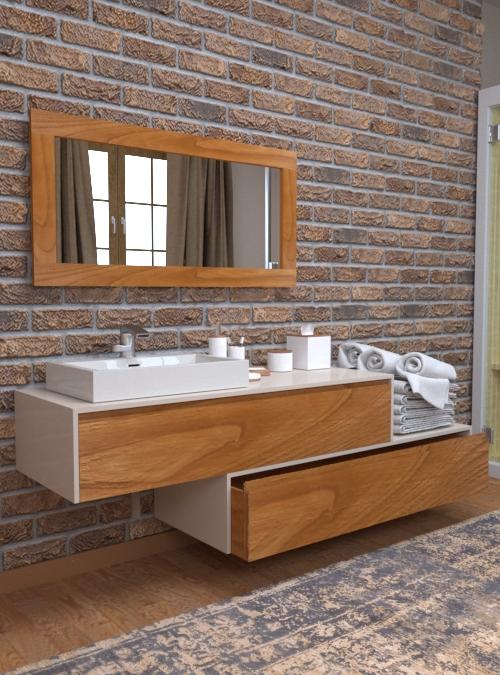 Mobile da bagno sospeso in legno di Rovere