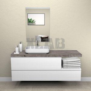 Mobile bagno sospeso con mensola in legno e doppio cassetto Atlanta