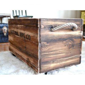 Organizer cassetta vintage in legno invecchiato Meg
