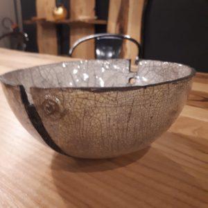 Ciotola semisfera in ceramica raku