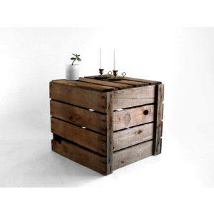 Comodino tavolino da salotto cassetta in legno vintage