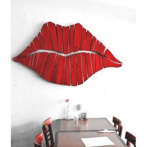 Bocca rossa in legno decorazione da parete Kiss