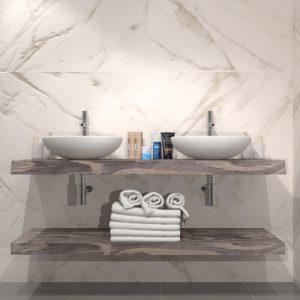 Doppio top da bagno in legno per lavabo Polly