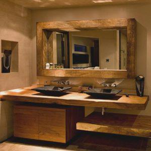 Doppio piano lavabo in legno massello Josephine
