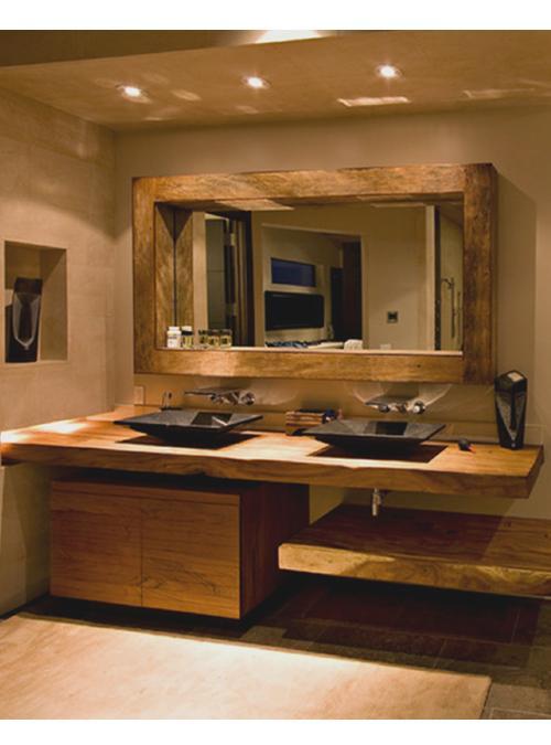 Doppia mensola bagno in legno massello con mobiletto cassettone portaoggetti