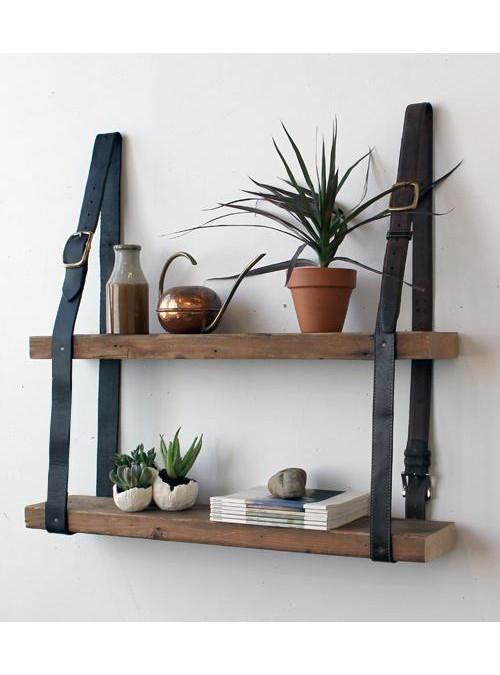 Mensola da parete legno massello e cinte in cuoio xlab for Arredamento mensole a parete