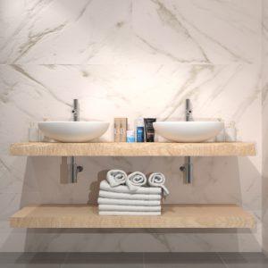 Doppia mensola da bagno sospesa in legno per lavabo Cindy