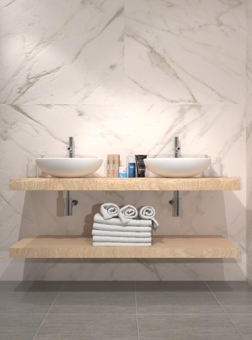 Mensola sospesa doppia da bagno in legno massello di castagno