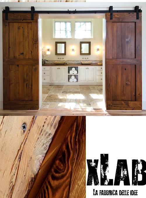 Doppia porta scorrevole da interno in legno massello di stile industriale