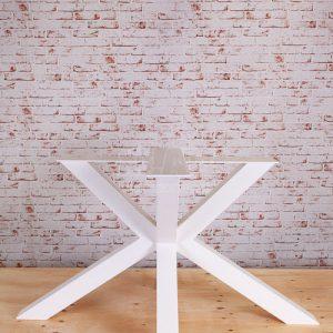 Gamba a stella bianca per tavoli Foster in ferro verniciato