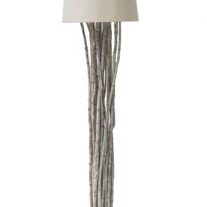 Lampada da terra con rami in ferro e legno Rea