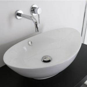 Offerta lavabo bacinella ovale in ceramica 60×37