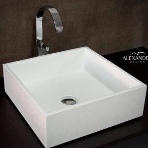 Lavabo sospeso in resina e minerali quadrato Correr Xlab