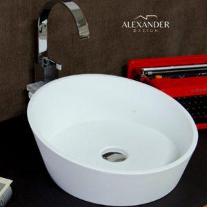 Lavabo sospeso in resina e minerali tondo Bicocca Xlab
