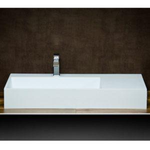 Lavabo sospeso in resina e minerali con vasca integrata e copri piletta Prado Xlab