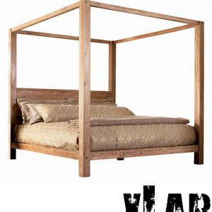 Letto matrimoniale baldacchino in legno di castagno Lassie