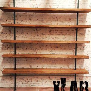 Libreria da parete stile industriale legno e ferro Leopardi