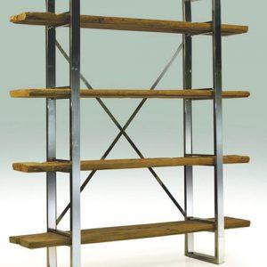 Libreria verticale Beckett design industriale ferro e legno massello