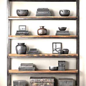 Libreria ferro e legno grezzo Pavese