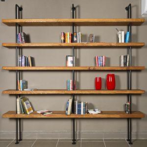 Libreria da parete vintage tubolari in ferro e mensole legno Quasimodo
