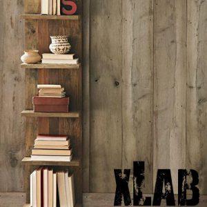 Wilde libreria a parete in legno invecchiato stile vintage