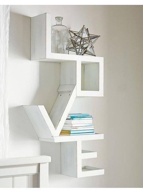 Famoso Libreria da parete scritta Love effetto shabby chic Xlab FZ41