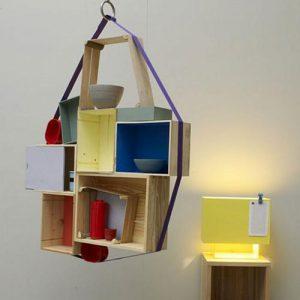 Libreria da soffitto sospesa con cubi in legno Pollock