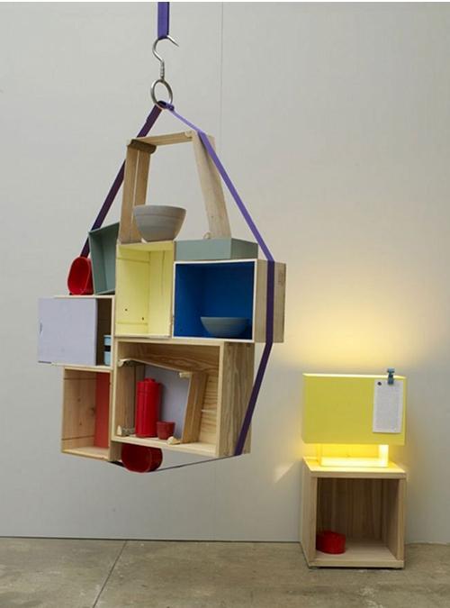 Libreria sospesa con cubi in legno mdf pollock xlab for Cubi in legno arredamento