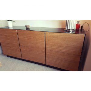 Madia moderna con cassetti acciaio e legno modello Dany