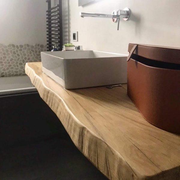mensola bagno in legno di rovere