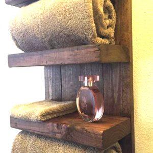 Mensola bagno in legno Juliet con porta asciugamani