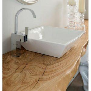 Mensola per lavabo in legno massello con trattamento resinato Meg