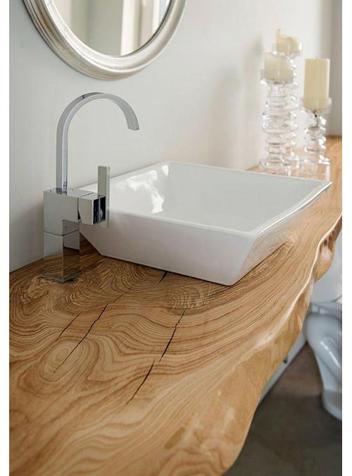 Mensola piano lavabo in legno di castagno completamente resinato