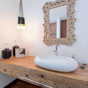 Piano lavabo washbasin in legno massello di castagno Skyler