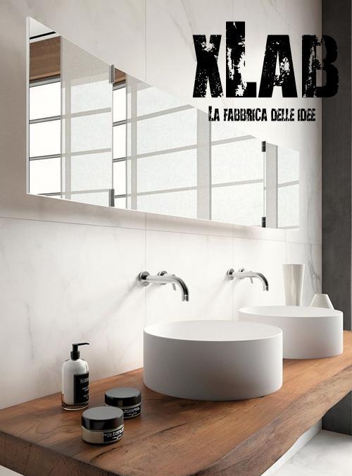 Mensola piano lavabo da appoggio in legno massello di castagno
