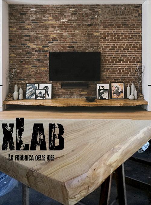 Mensola porta tv in legno massello virtuous xlab design for Mobile porta tv legno grezzo