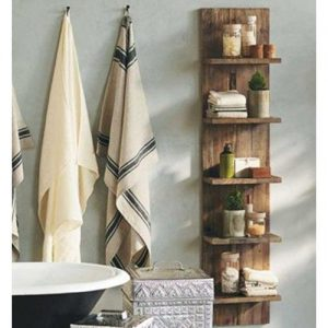 Mensola da bagno Oscar in legno invecchiato stile vintage