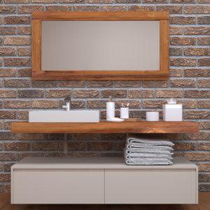 Mensola e mobile bagno con cassetti in legno di larice Florida