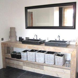 Mobile arredo bagno con cassetti in legno massello Eveline