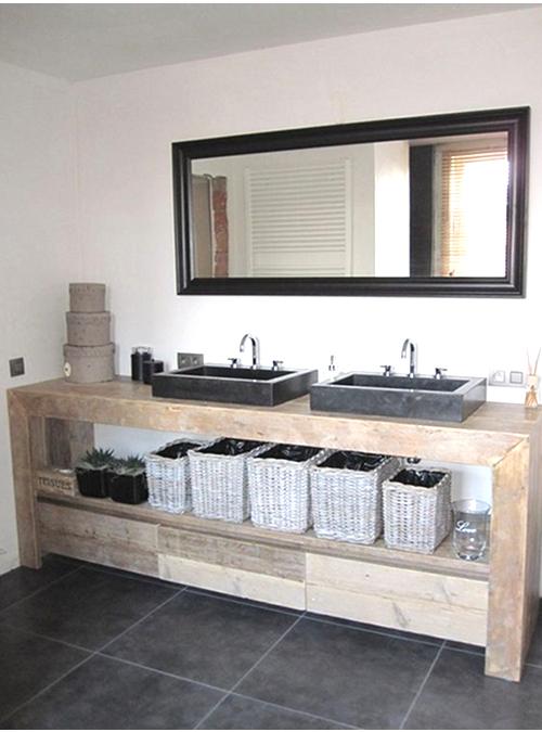 Mobile bagno stile invecchiato con 3 cassetti e ripiano portasciugamani, per 2 lavabi in ceramica