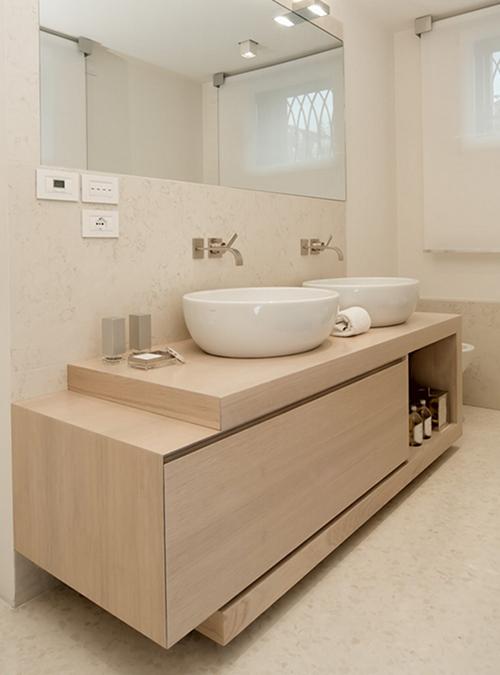 Mobile da bagno in legno massello e listellare julianne xlab for Mobile bagno minimal