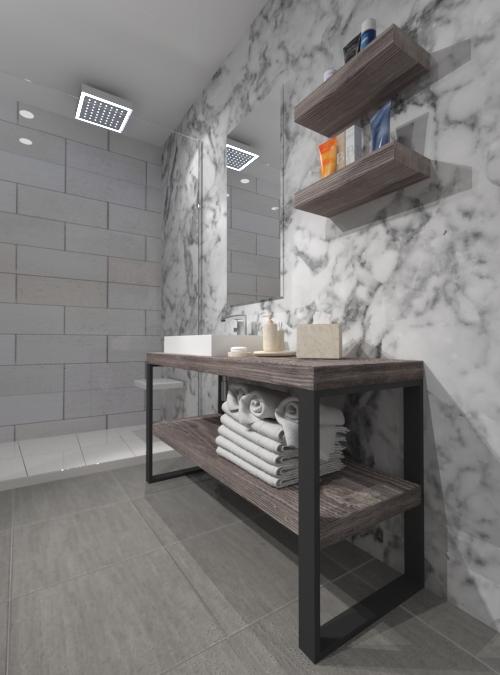 Mobile da bagno stile industriale in legno di larice july for Mobile bagno legno