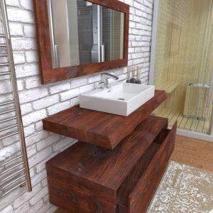 Mobile bagno sospeso con mensola lavabo in legno di larice Perla