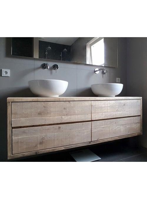 Arredo bagno sospeso con cassetti legno massello design italiano 4 cassetti